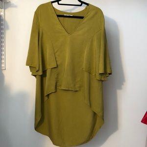 Zara TRF lime green V neck drapey tunic M